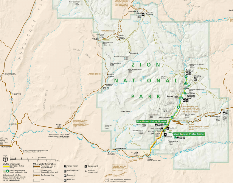 Map of hiking in Zion National Park, Utah