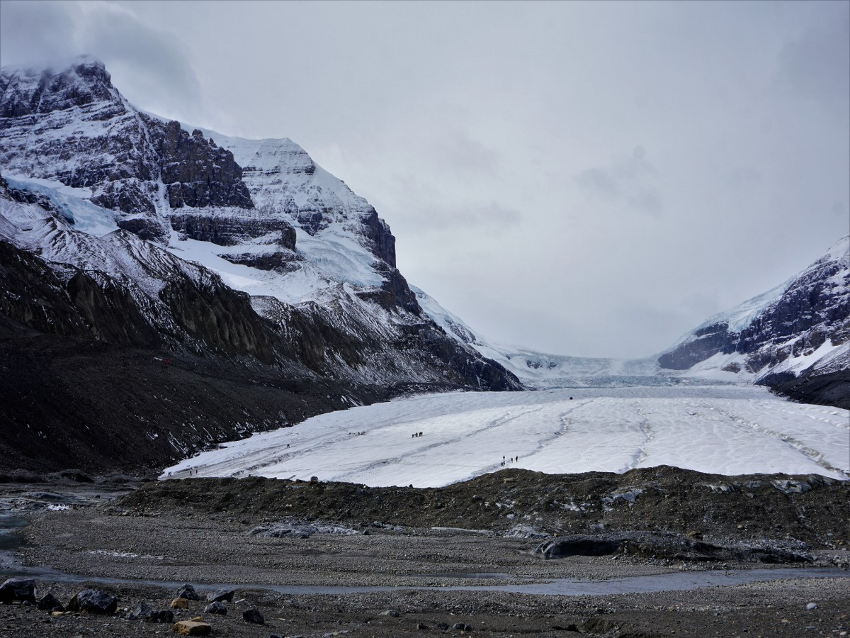 Mountaineers on the Toe of the Athabasca Glacier Hike in Jasper National Park