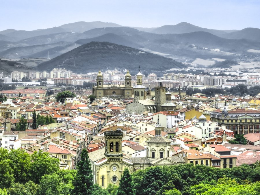 Panoramic view of Pamplona on the background of mountains in Navarre, Spain