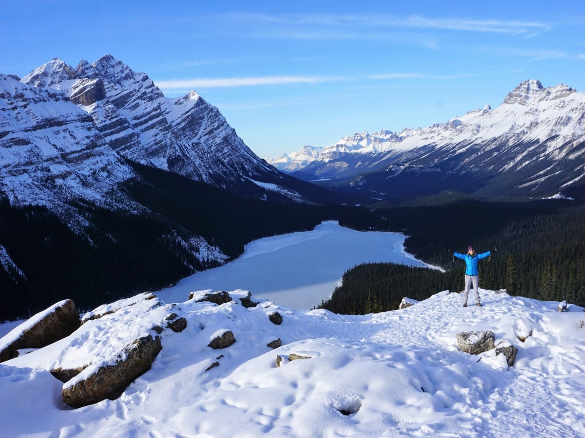Peyto Lake Viewpoint in Winter on a hike from Icefields Parkway, near Banff National Park