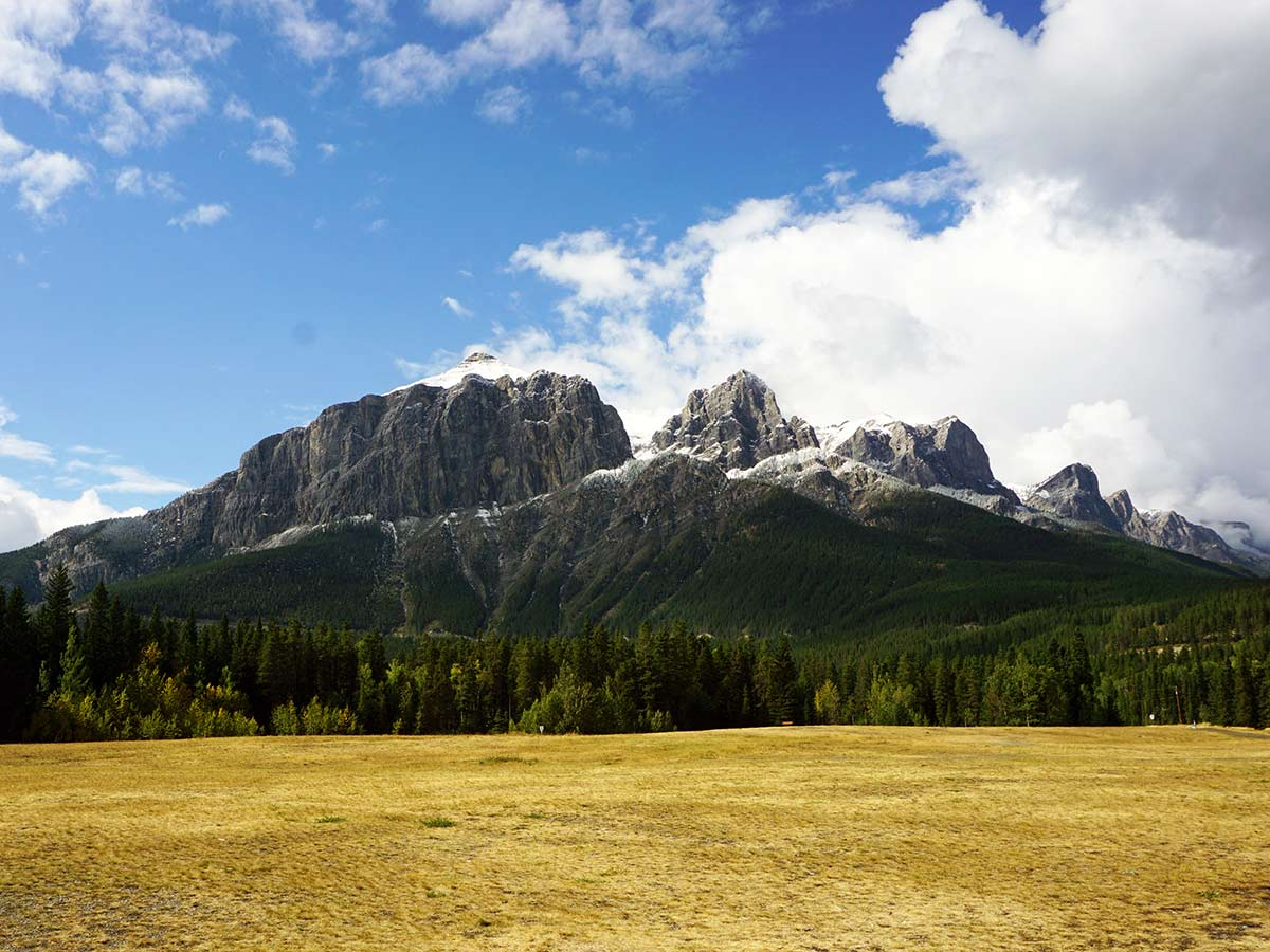 View of Rundle from Quarry Lake hike in Canmore, Alberta