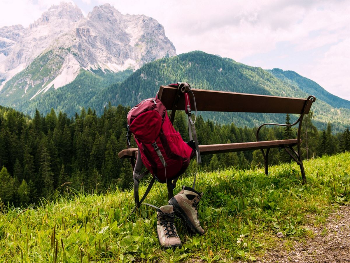 Hiking backpack and boots in South Tyrol Austria