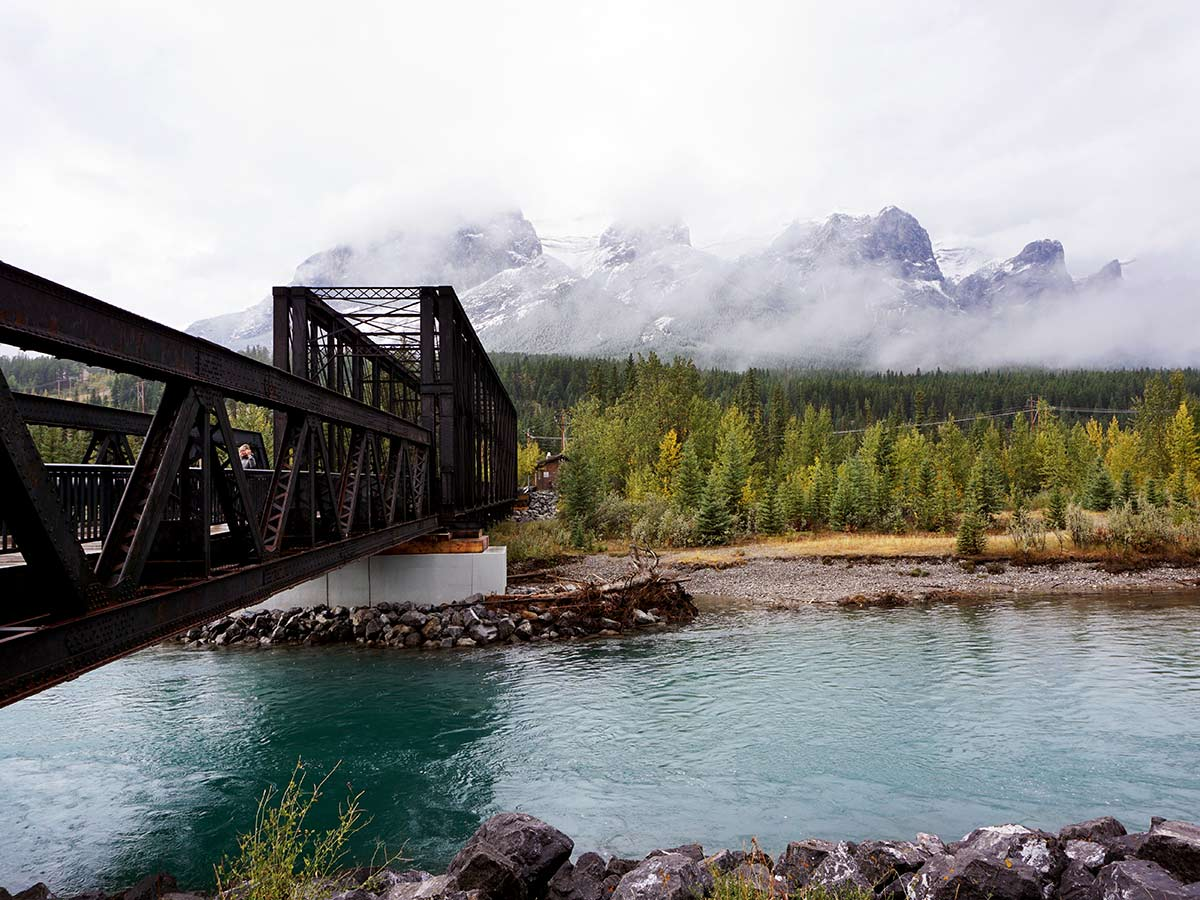 The Canmore Engine Bridge has wonderful views on this Canmore hike