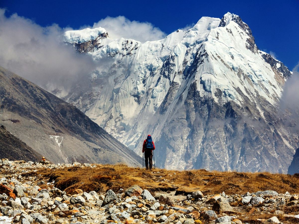 Hiker in Himalayas mountain