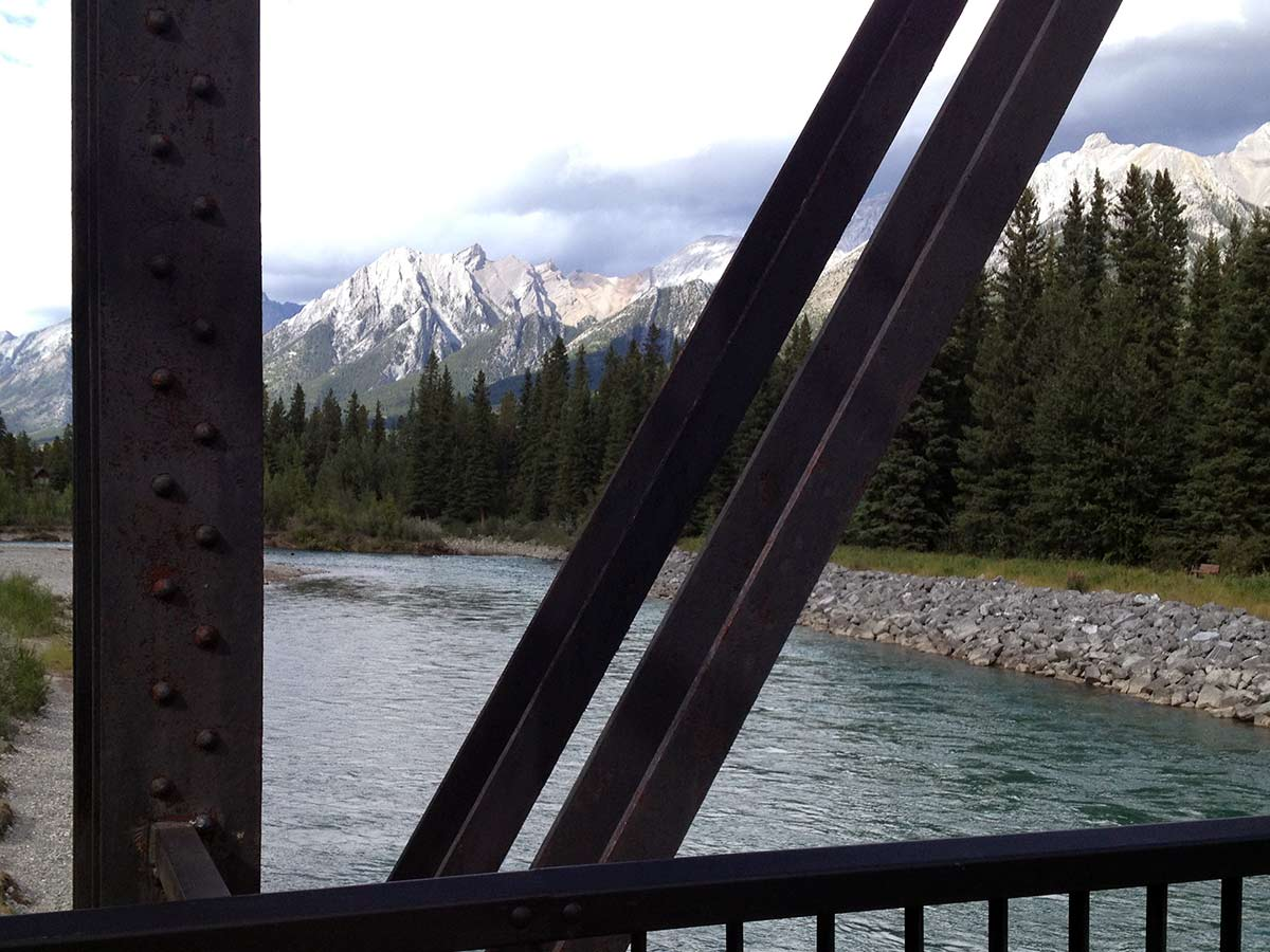 The view from the Canmore Engine Bridge on Main Street, Bow River and the Rail Bridge Hike in Canmore
