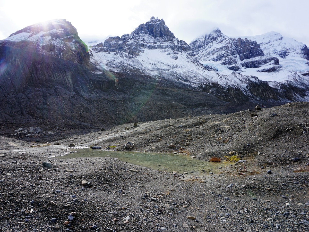 Stunning views on the Toe of the Athabasca Glacier Hike along the Icefields Parkway in Alberta
