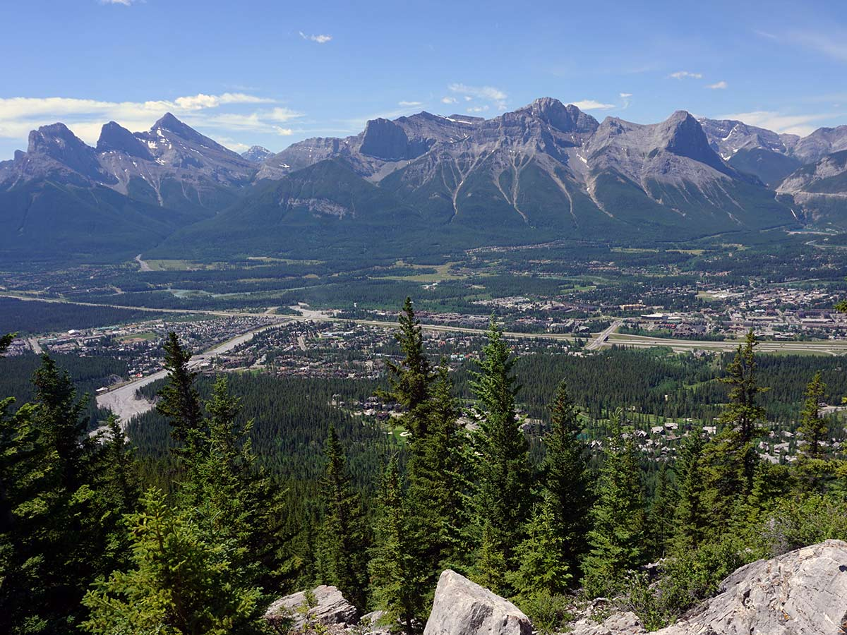 Canmore and the Bow Valley view from the Lady MacDonald Tea House Hike from Canmore, Alberta
