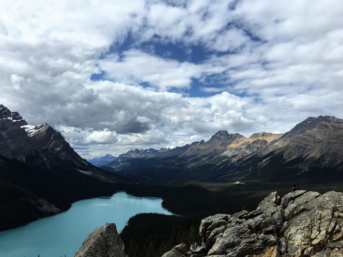 Panorama of the Canadian Rockies from the Peyto Lake Viewpoint Hike from Icefields Parkway, near Banff National Park