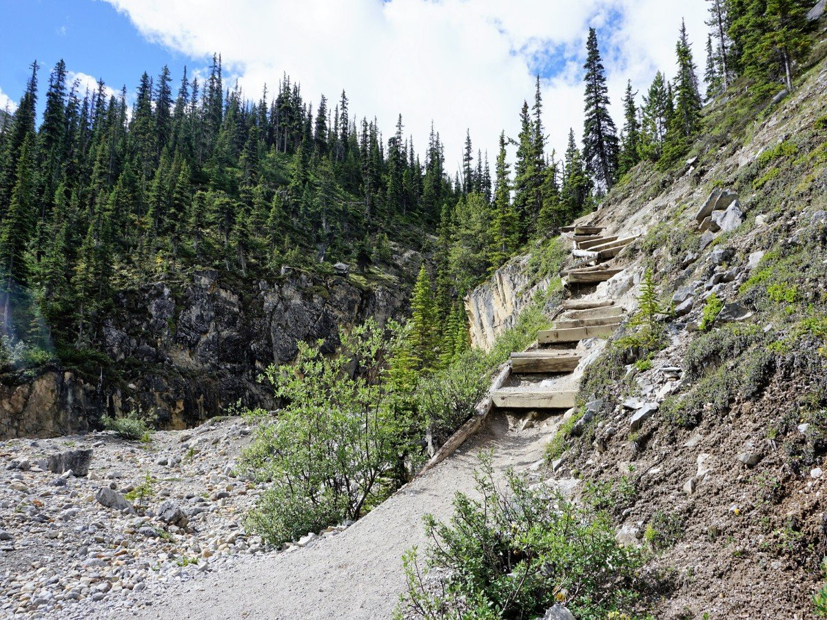 The Stairs going upon the Bow Hut Hike from Icefields Parkway in Banff National Park