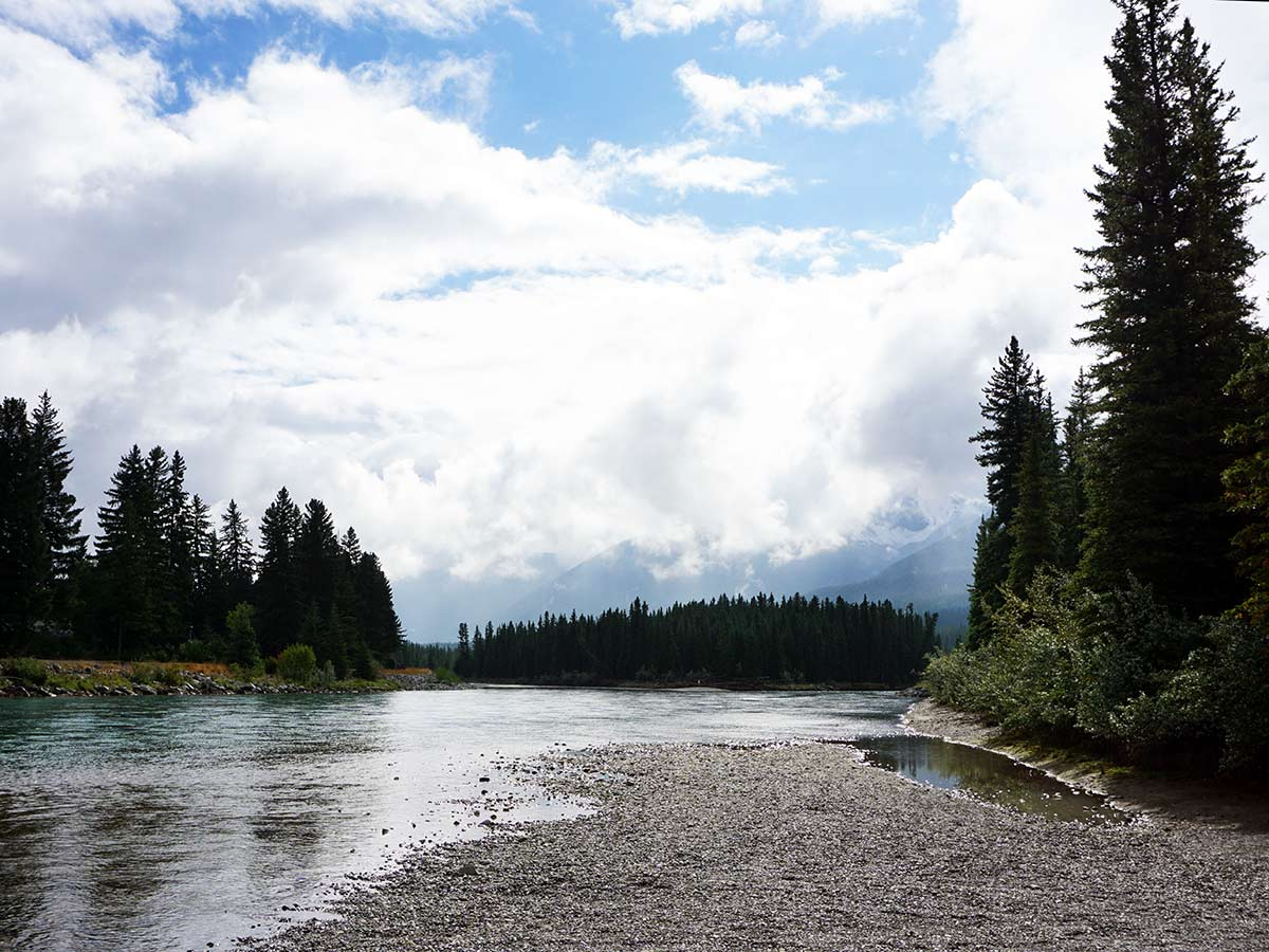 Family friendly trail of the Main Street, Bow River and the Rail Bridge Hike in Canmore, Alberta