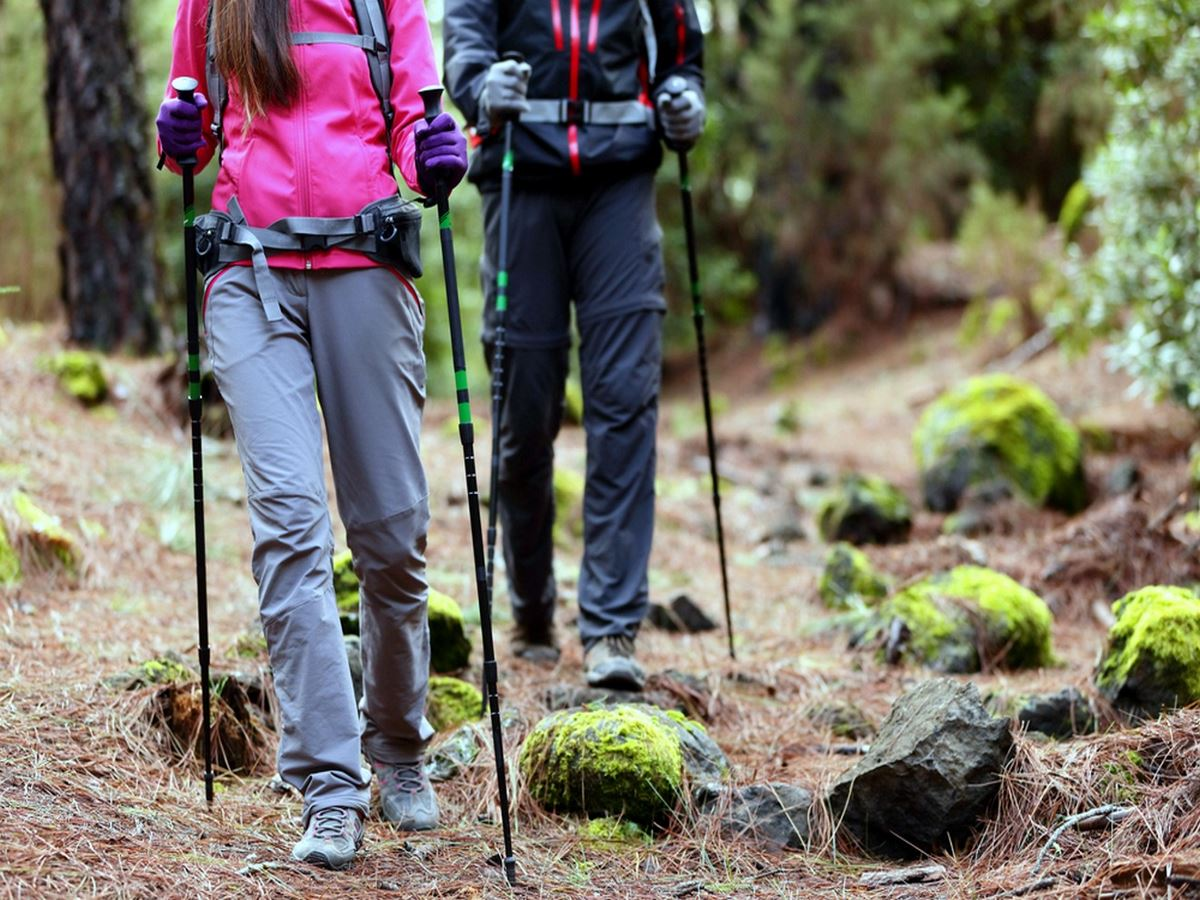 Hiking couples with poles