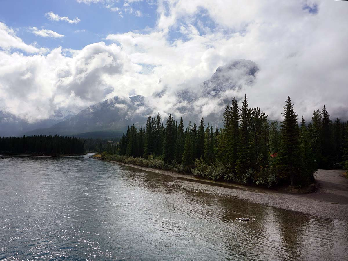 Ha Ling on the Main Street, Bow River and the Rail Bridge Hike in Canmore, Alberta