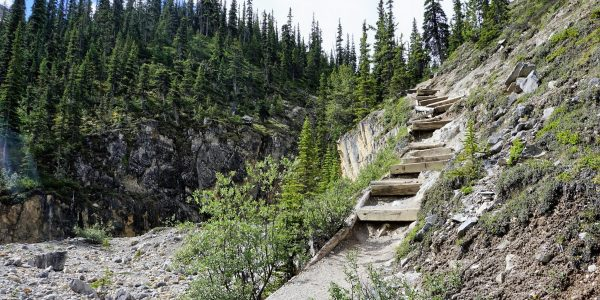 The stairs to the falls on the Bow Glacier Falls Hike from the Icefields Parkway near Banff National Park