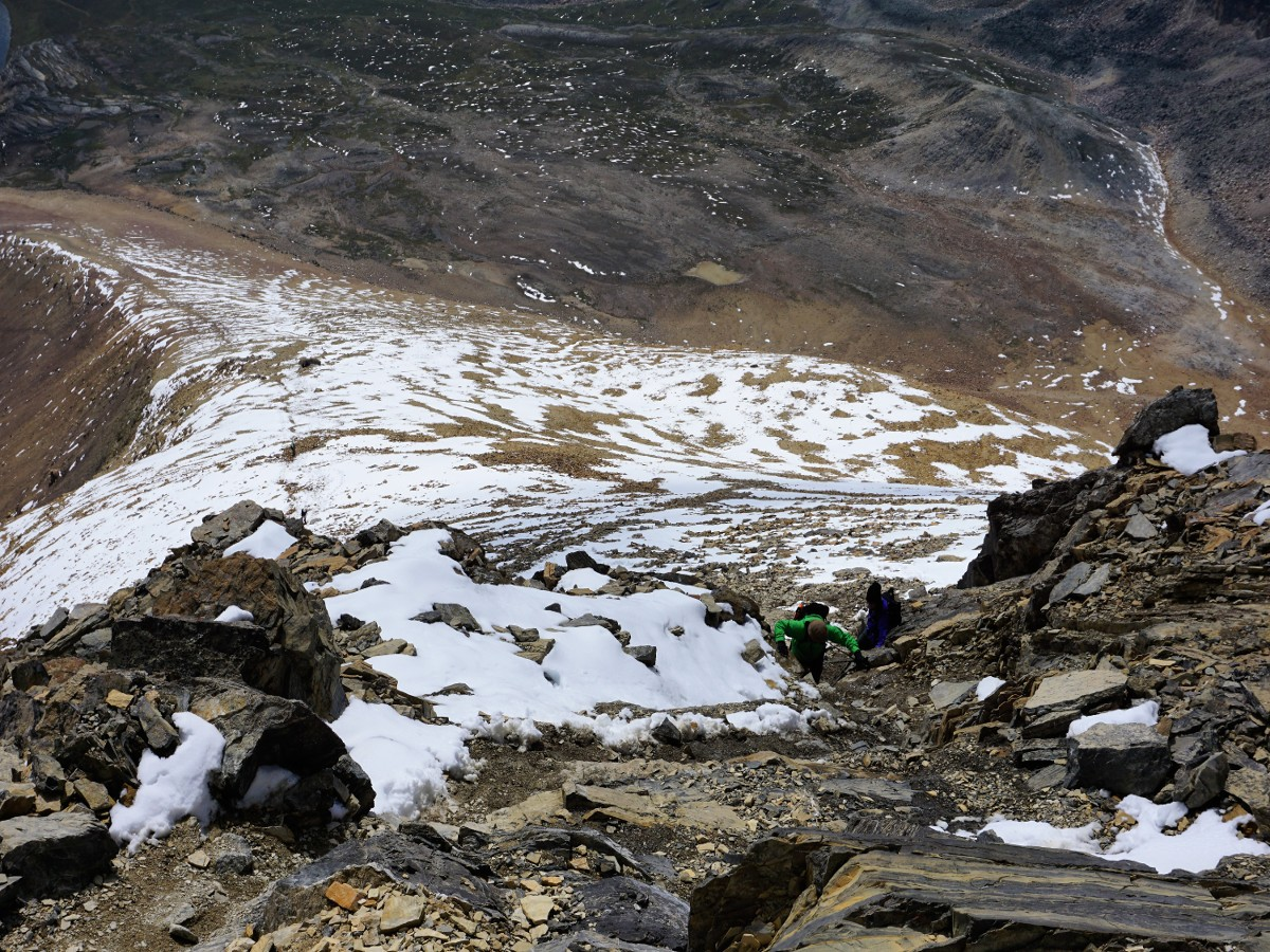 Final scramble to the top on the Helen Lake and Cirque Peak Hike along the Icefields Parkway, Alberta, Canada