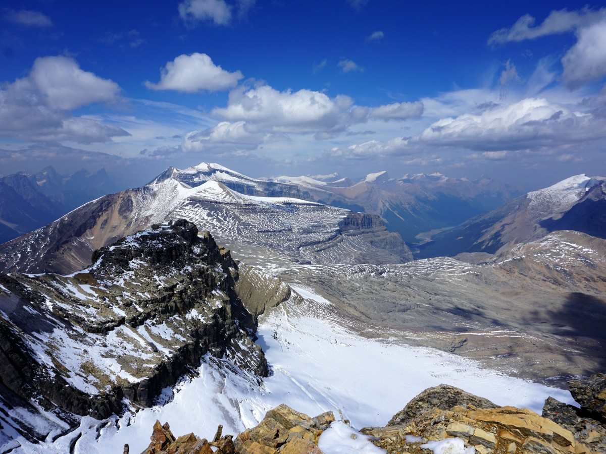 Views from the summit on the Helen Lake and Cirque Peak Hike from the Icefields Parkway near Banff National Park