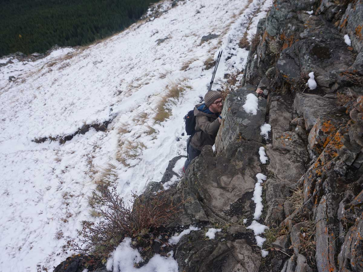 The scrambly bit on Wind Ridge hike in Canmore