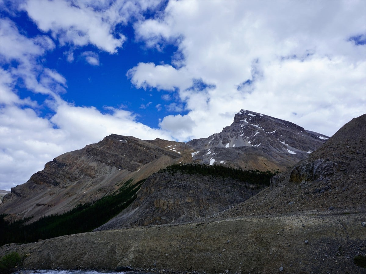 Views on the path of the Bow Glacier Falls Hike from the Icefields Parkway near Banff National Park