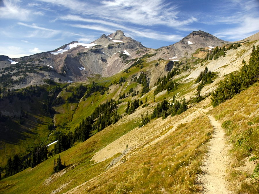 The Pacific Crest Trail winds through Cispus Basin in Washington's Goat Rocks Wilderness