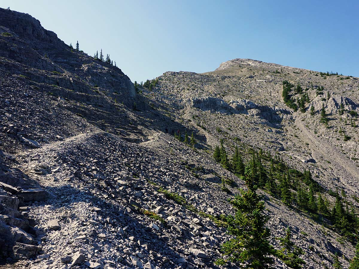 The rough trails upon the Mt. Yamnuska Circuit Hike in Canmore, Alberta