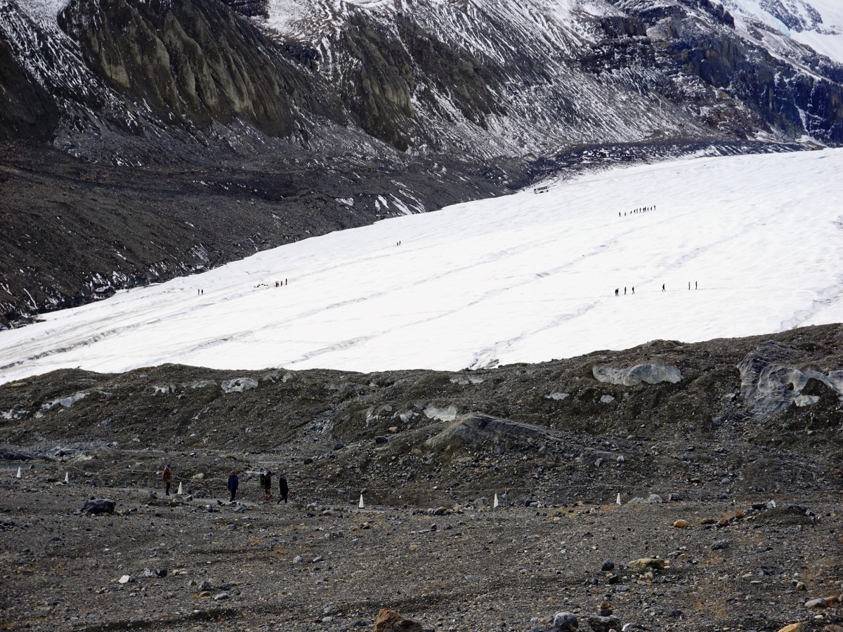 Hikers and mountaineers on the Toe of the Athabasca Glacier Hike in Jasper National Park