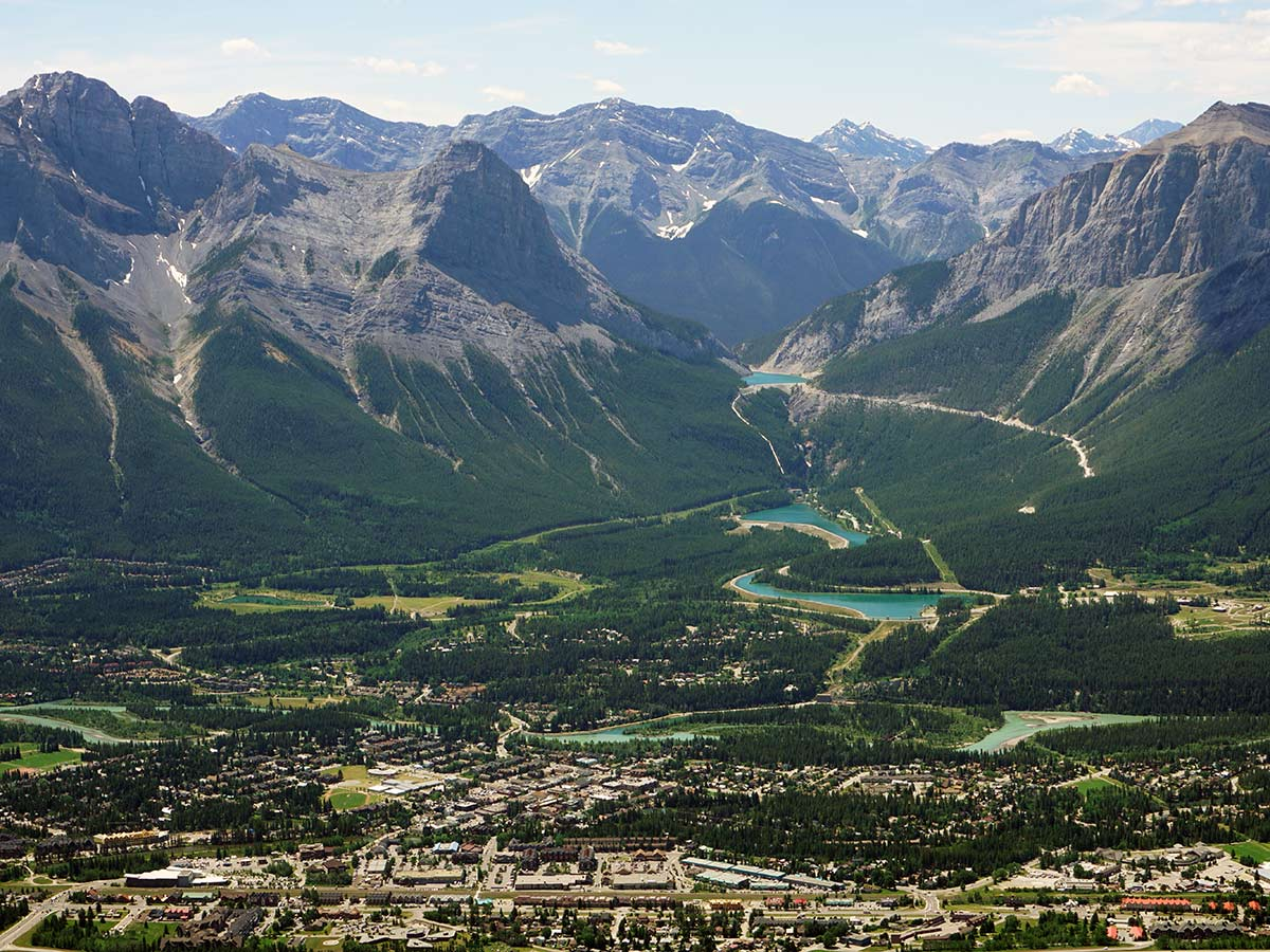 Looking down on Canmore and the Smith Dorrien weaving back to the Spray Valley