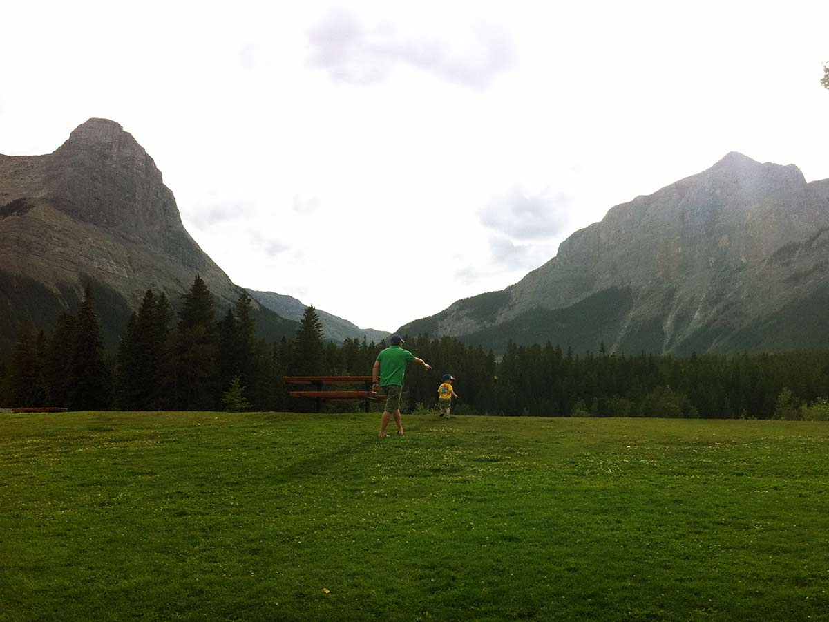 Family friendly walk on the Main Street, Bow River and the Rail Bridge Hike in Canmore, Alberta