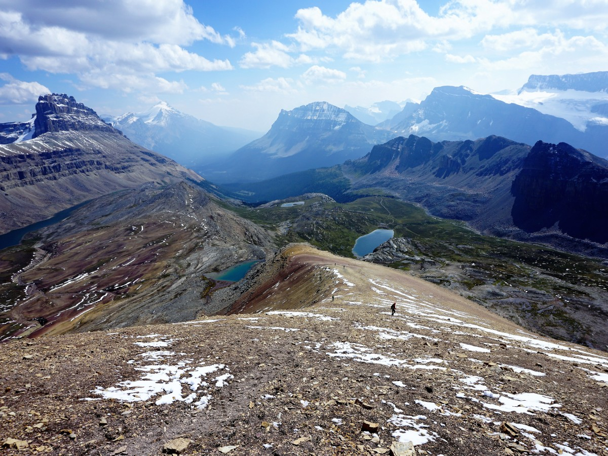 Descending the Helen Lake and Cirque Peak Hike from the Icefields Parkway near Banff National Park