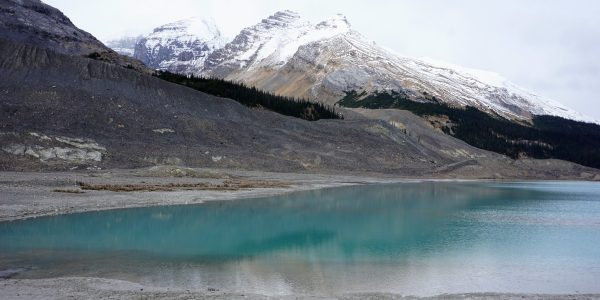 Views from the lake by the parking lot on the Toe of the Athabasca Glacier Hike in Jasper National Park