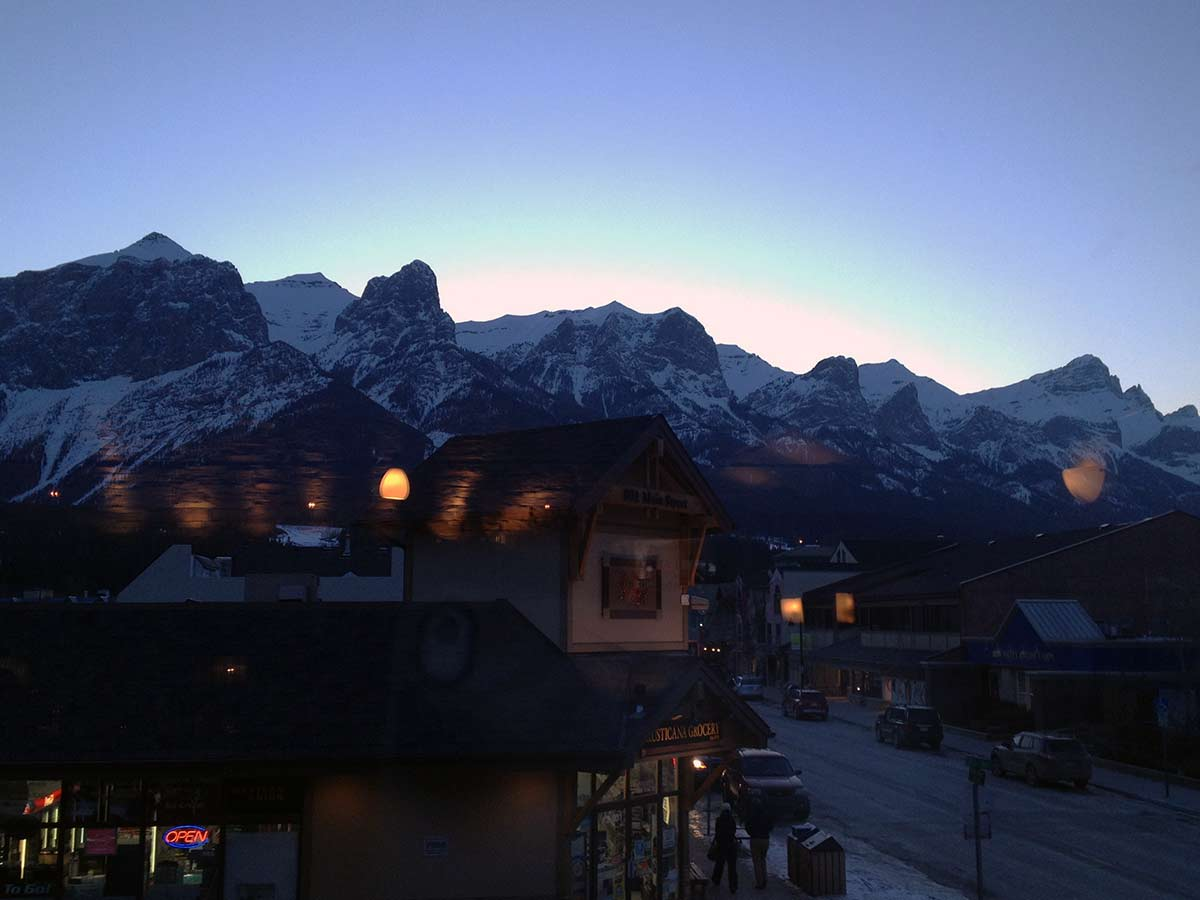 The view from Murrieta's on the Main Street, Bow River and the Rail Bridge Hike in Canmore, Alberta
