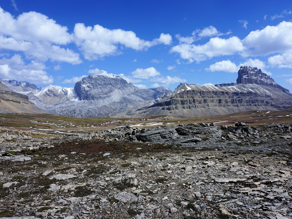 Mountain views on the Helen Lake and Cirque Peak Hike from the Icefields Parkway near Banff National Park