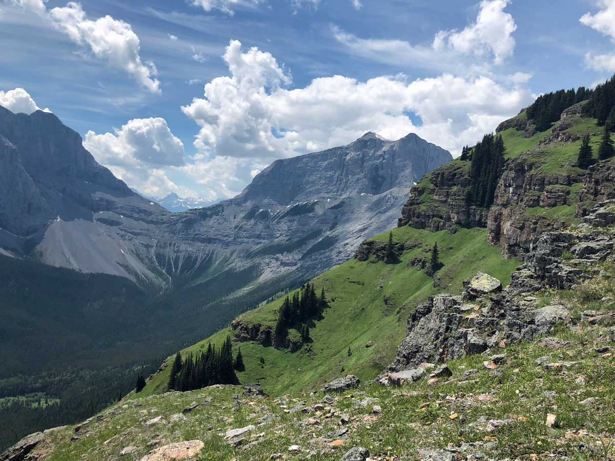 Looking back across the West Wind Pass on the Wind Ridge hike in Canmore, Alberta