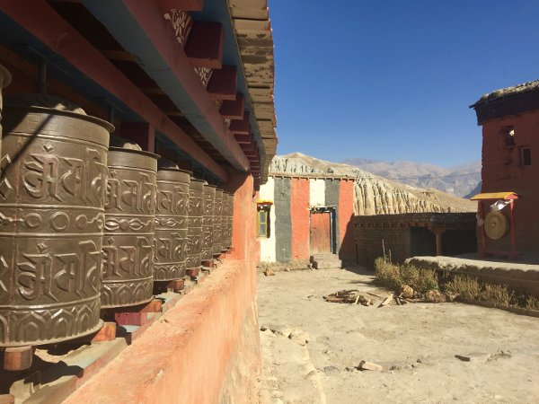 Buddhist prayer wheels in Mustang