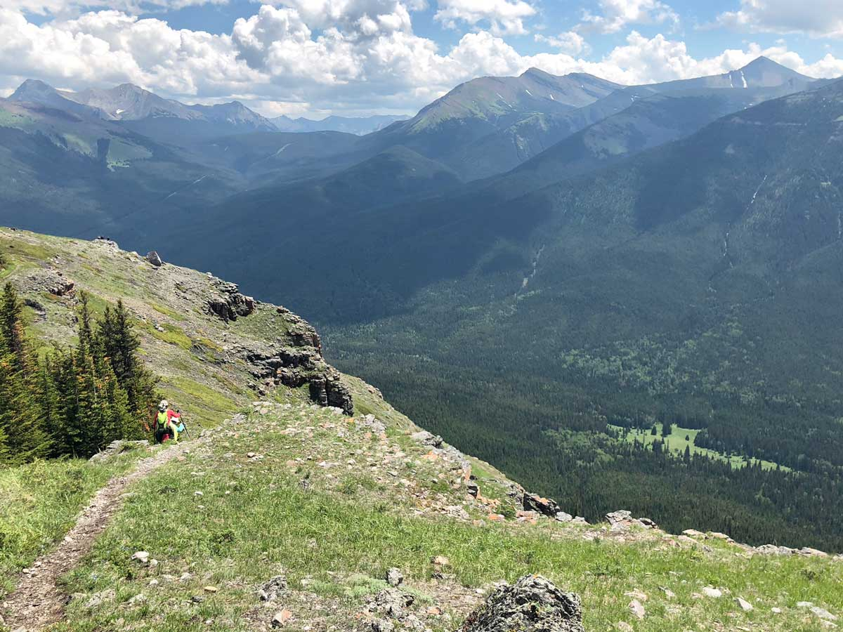 Steep descent on the Wind Ridge hike in Canmore, Alberta