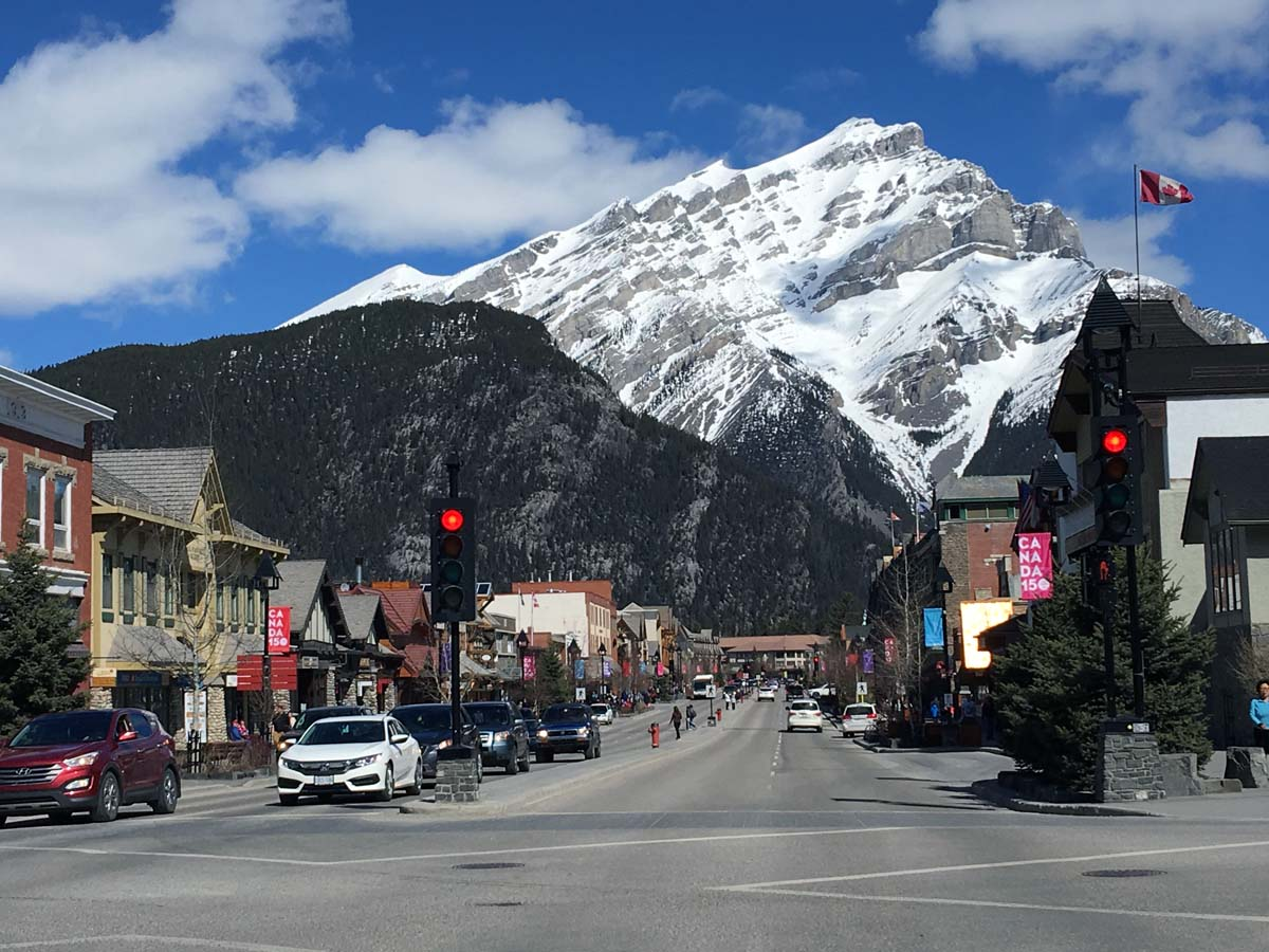 Main street and Tunnel Mountain on the Tunnel Mountain Hike in Banff, Alberta