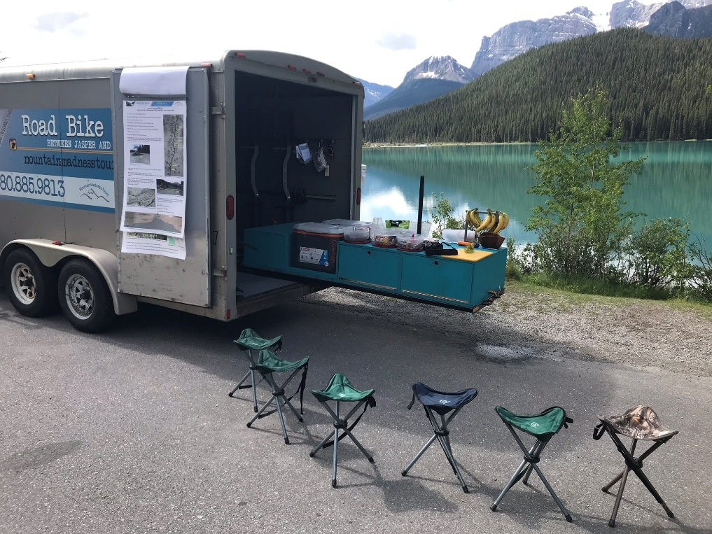 Waterfowl Lake on a cycling tour from Bow Pass to Lake Louise
