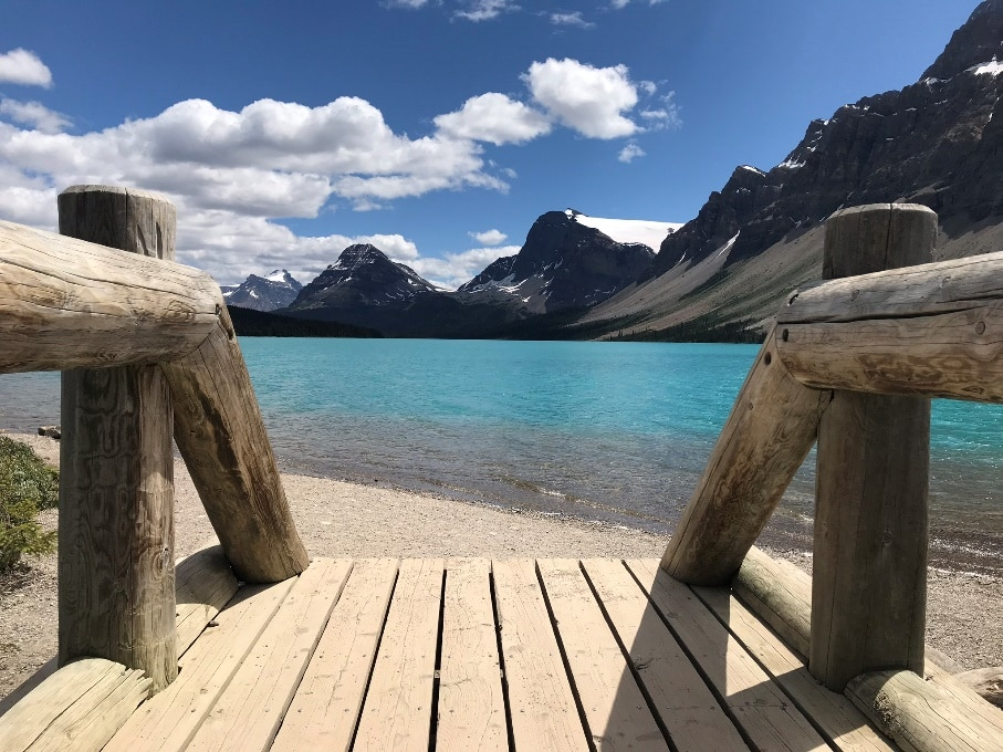 Bow Lake on a cycling tour from Bow Pass to Lake Louise
