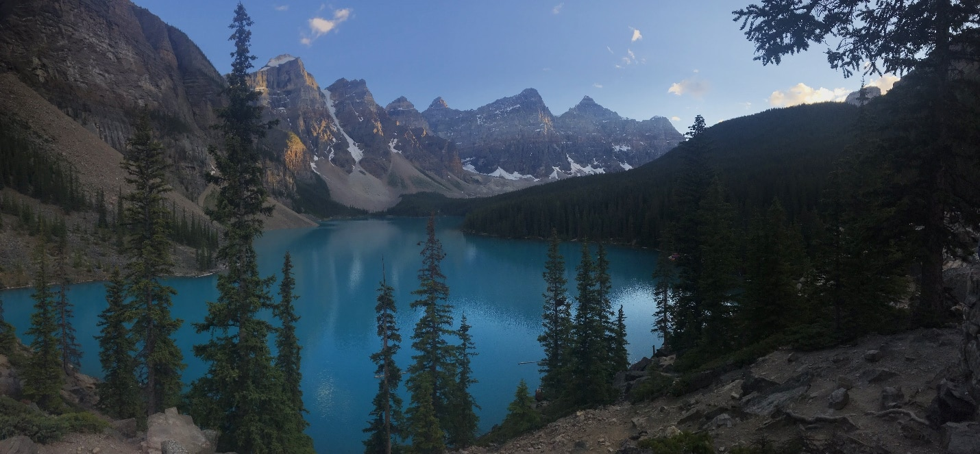 Moraine Lake on a cycling tour from Bow Pass to Lake Louise