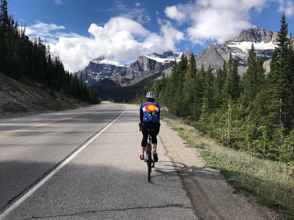 Biker on a cycling tour from Bow Pass to Lake Louise