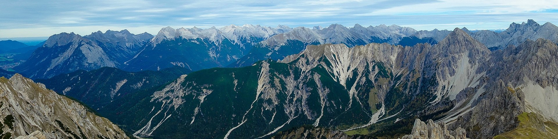 Panorama of the Reither Spitze hike near Innsbruck, Austria