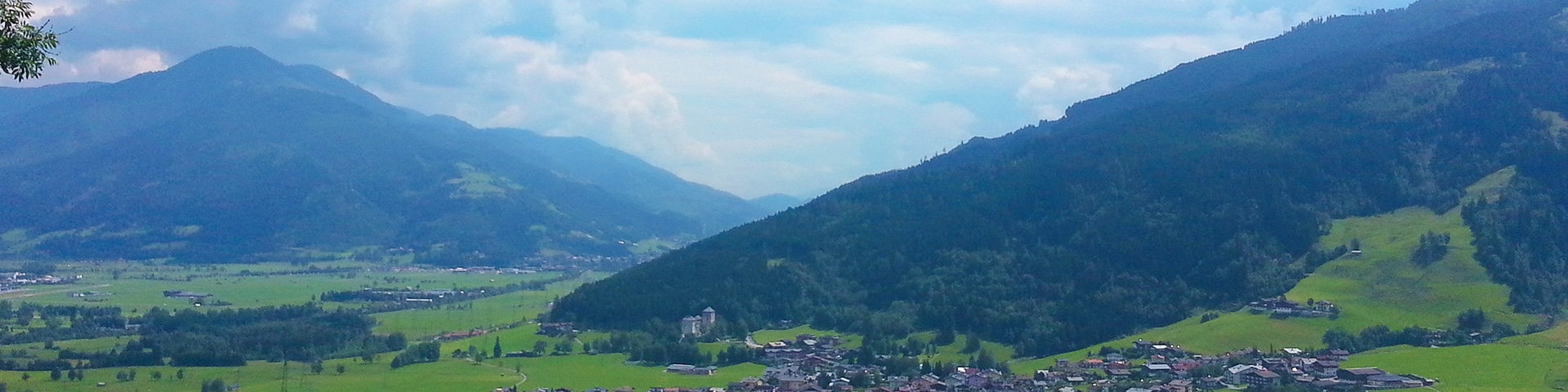 Panorama of the Maiskogel Forest Route hike in Zell am See and Kaprun Valley, Austria