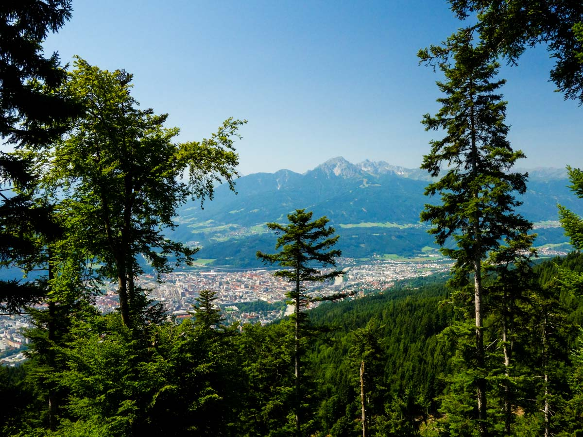 Innsbruck from a forest clearing on the Goetheweg Hike in Innsbruck, Austria