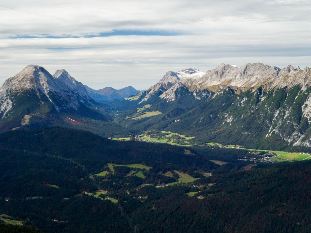Vista from the trailhead of the Reither Spitze Hike in Innsbruck, Austria