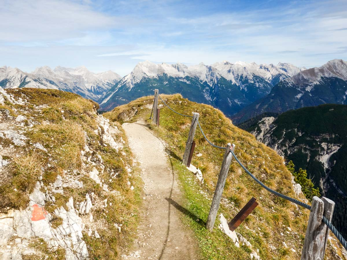 Beautiful trail of the Reither Spitze Hike in Innsbruck, Austria