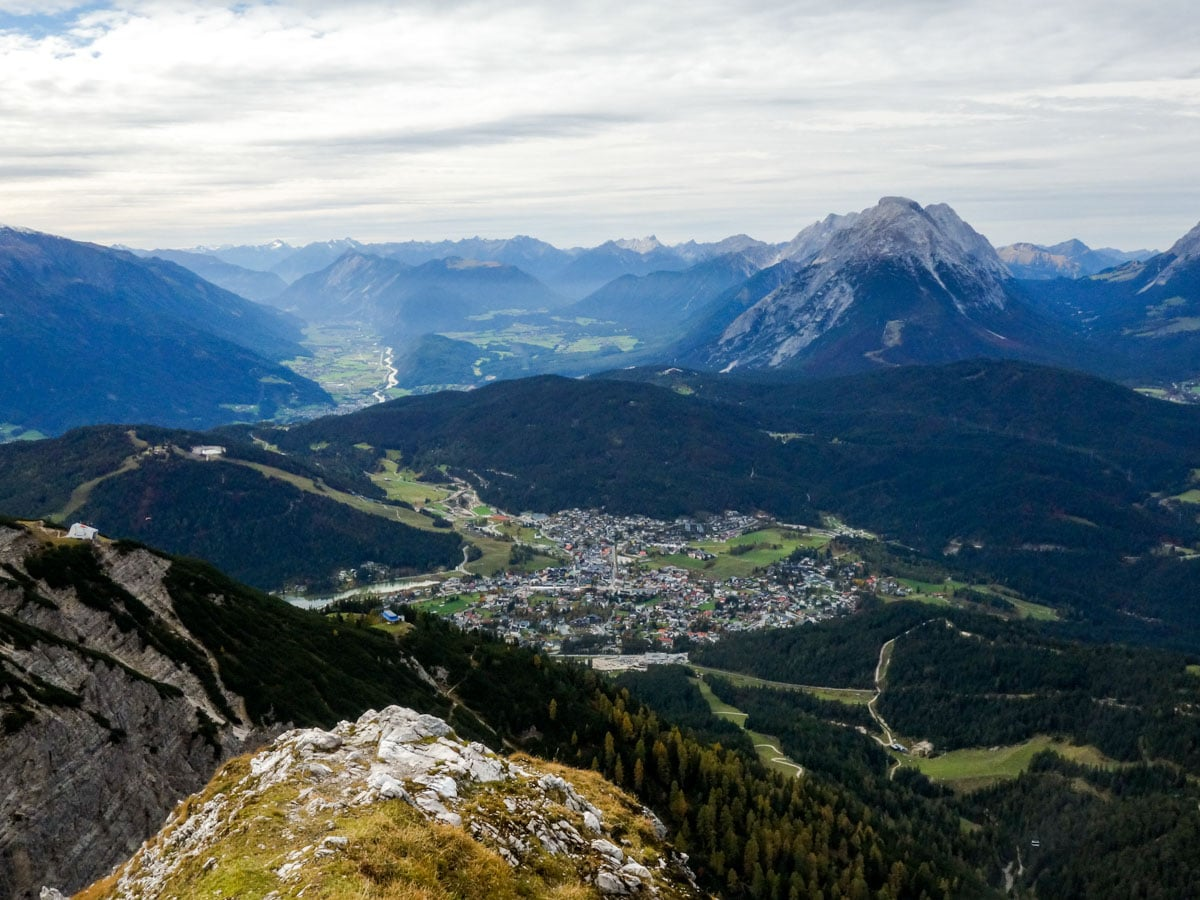 Vista of Seefeld and the valley on the Reither Spitze Hike in Innsbruck, Austria