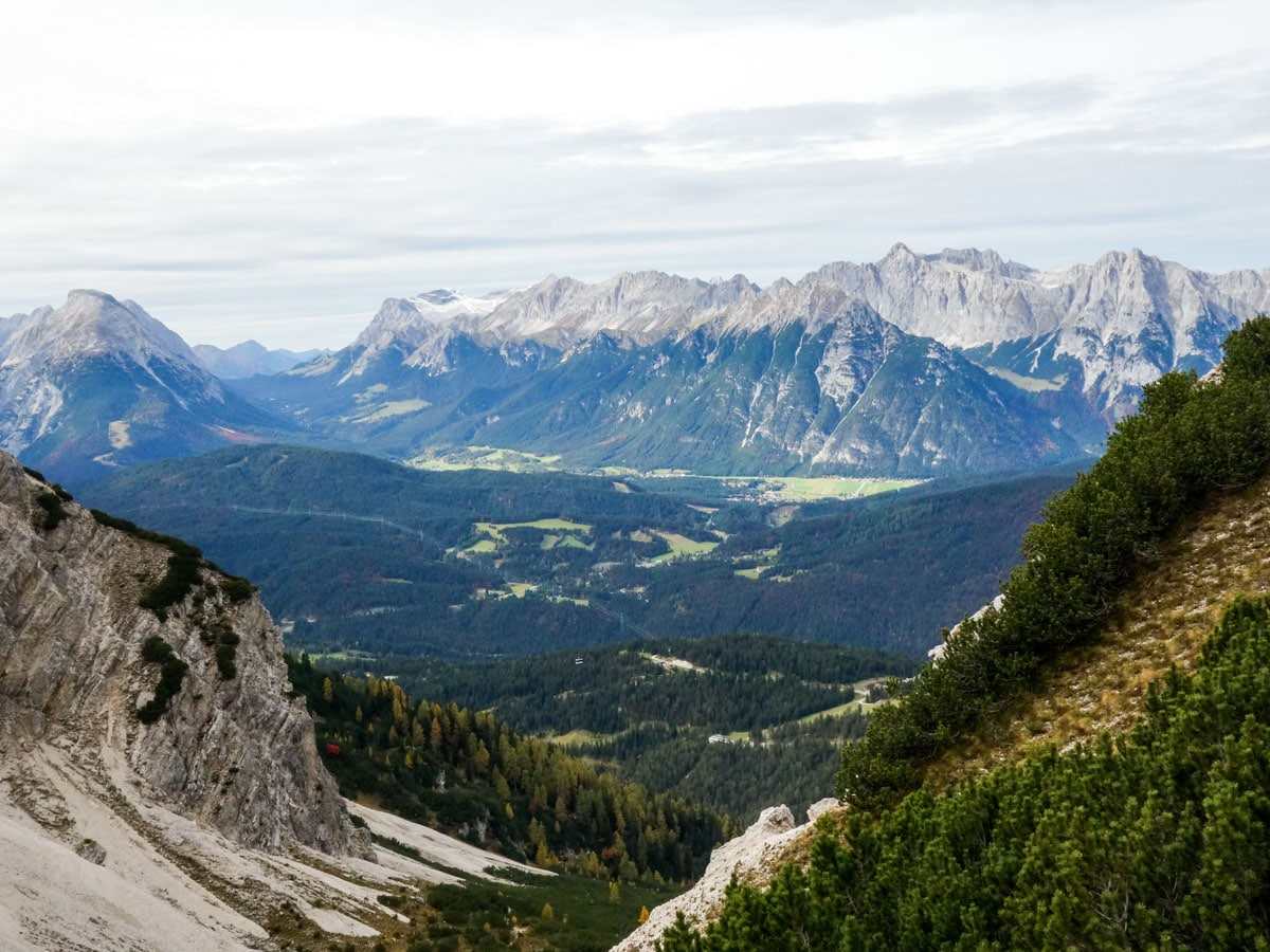 Valley surrounded by mountains on the Reither Spitze Hike in Innsbruck, Austria