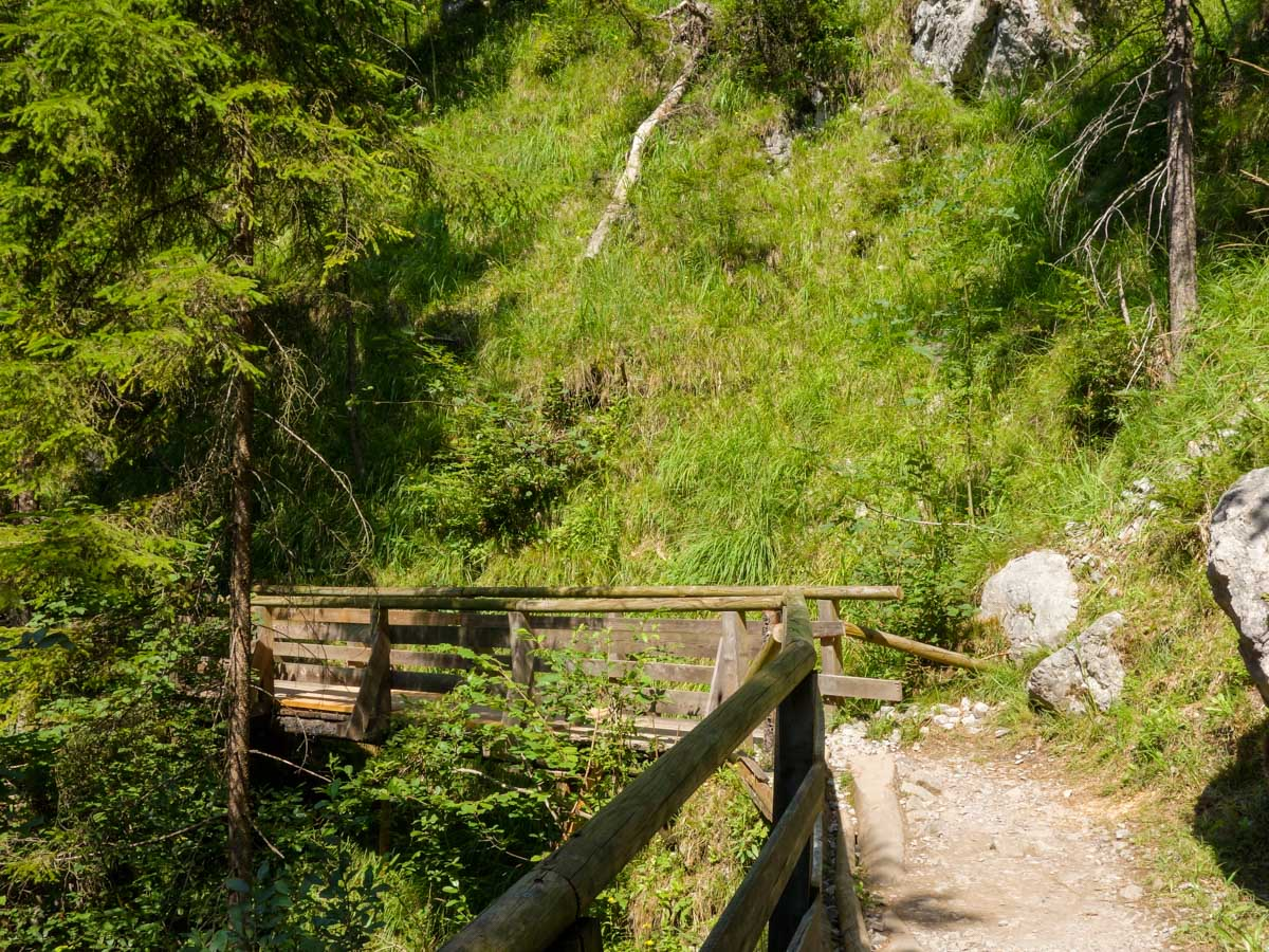 Trail before reaching the river on the Wolfsklamm Hike in Innsbruck, Austria