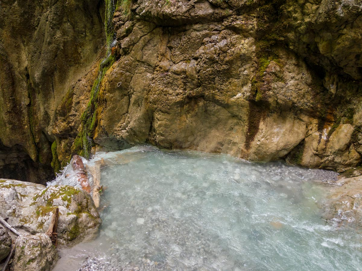 Above the waterfall on the Wolfsklamm Hike in Innsbruck, Austria