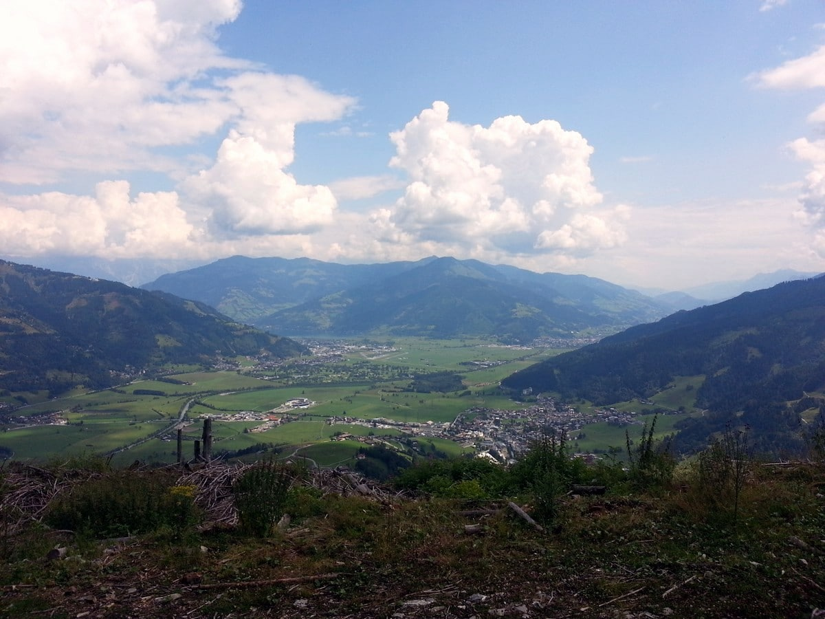 View on Zell am See on the Maiskogel Forest Route Hike in Zell am See - Kaprun, Austria