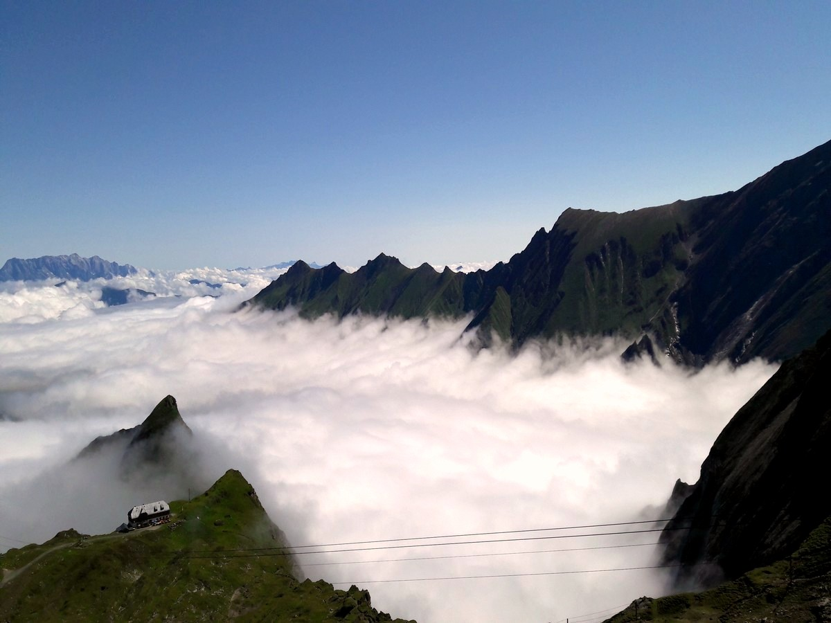 The valley of Kaprun covered under the clouds
