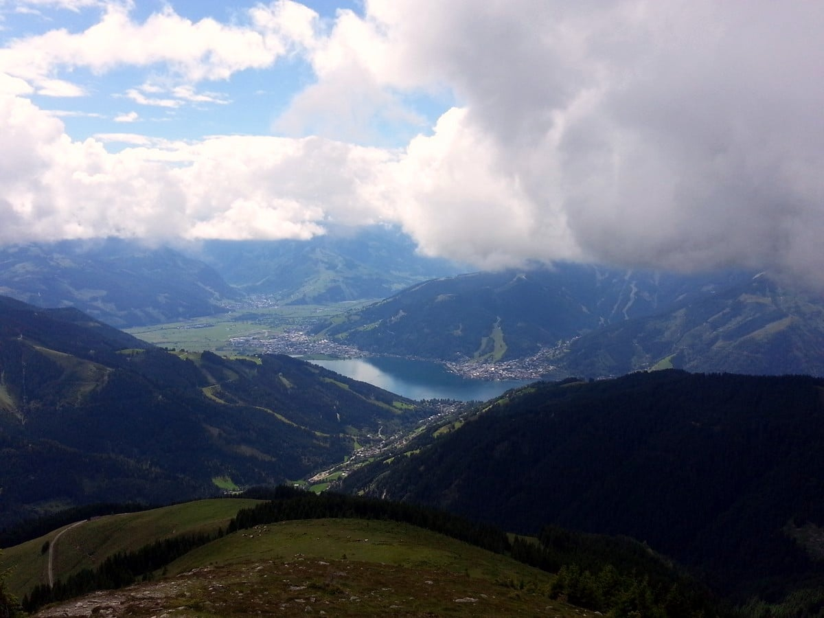 View on Zell am See from the Schwalbenwand & Schönwieskopf Hike in Zell am See - Kaprun, Austria